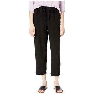 Eileen Fisher Black Gauzy Drawstring Raw Hem Pants